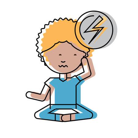 Hombre preocupado de dibujos animados practicando yoga sobre ilustración de vector de fondo blanco Foto de archivo - 92406390