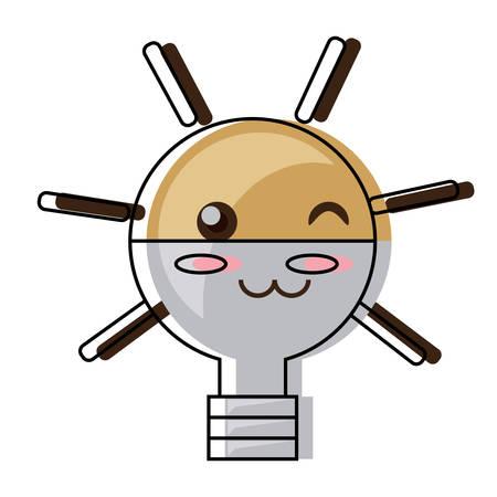 Cute light bulb winking eye and smiling over white background illustration.