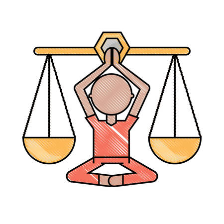 scale with man in lotus pose icon over white background colorful design vector illustration