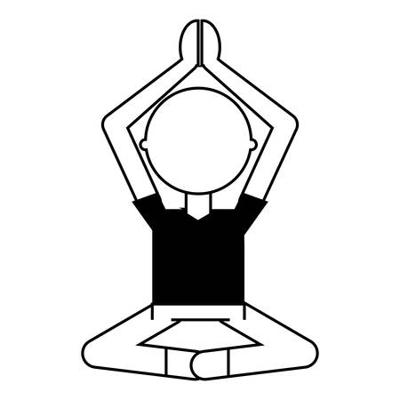 Avatar man practicing yoga over white illustration. Vectores