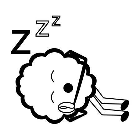 Sleeping brain icon over white illustration. Stock Illustratie