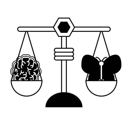 weight scale with butterfly and brain icon over white background vector illustration