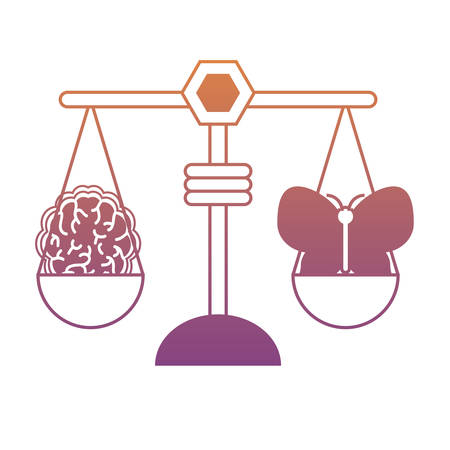 Weight scale with butterfly and brain icon over white illustration in colorful design. Ilustração