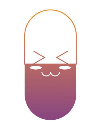 Cute happy pill icon over white background. Colorful design illustration.