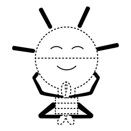 Kawaii relaxed light bulb icon over white background vector illustration 일러스트