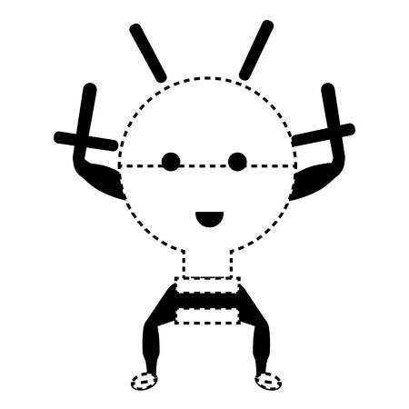 kawaii light bulb icon over white background vector illustration