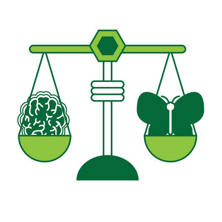 Weight scale with butterfly and brain icon illustration. Ilustração