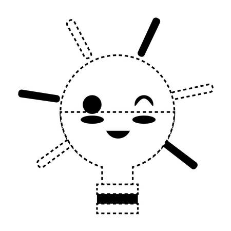 kawaii light bulb winking eye and smiling over white background vector illustration 일러스트