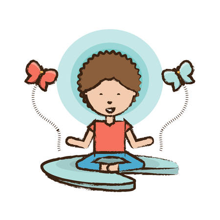 butterflies around cartoon man practicing yoga in lotus pose icon over white background colorful design vector illustration