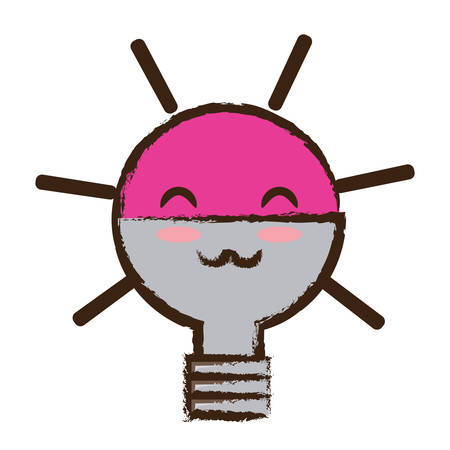 Cute happy light bulb icon over white background. Colorful design illustration.