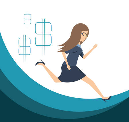 Business woman running towards the goal vector illustration graphic design