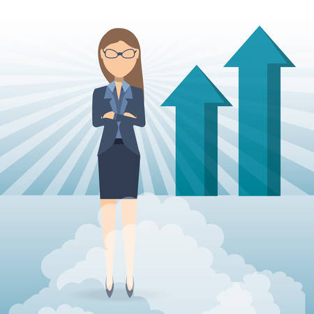 succesful business woman showing business growing chart vector illustration graphic design Illustration