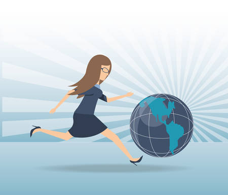 Business woman running towards the goal illustration graphic design. Ilustrace