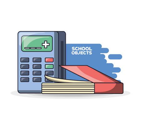 School supplies books calculator education concept vector illustration graphic design