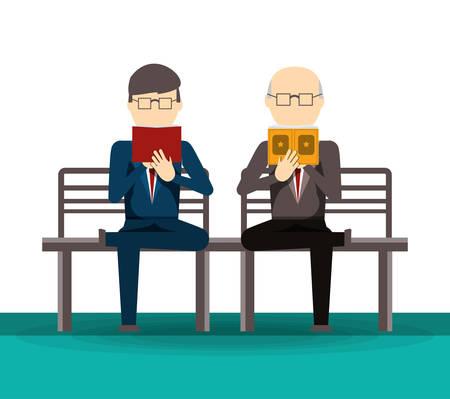 Mensen lezen boek en krant