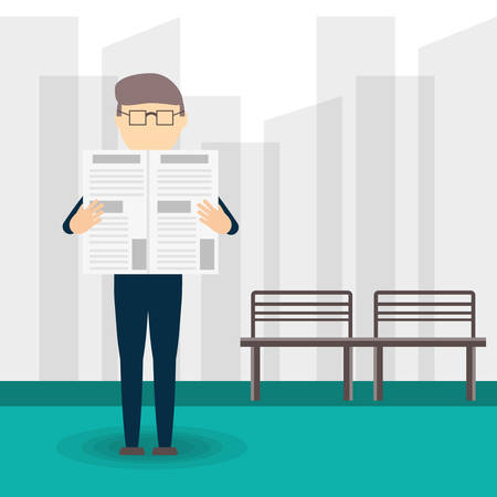 Old man reading the newspaper vector illustration graphic design