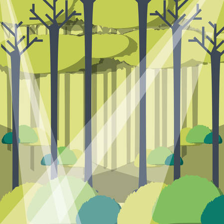 Rays of sun light entering in a green forest landscape. Illustration
