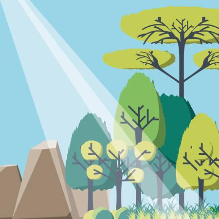 Stralen van zonlicht die in een groen grafisch ontwerp van de boslandschaps vectorillustratie binnengaan Vector Illustratie
