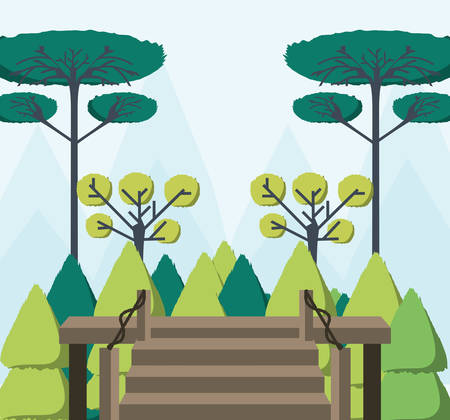 Beautiful forest view from the wooden house vector illustration graphic design