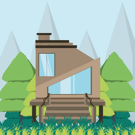 Wooden eco house in the forest vector illustration graphic design