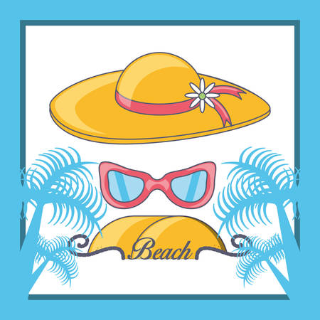 Beach vacation summer holiday tropical beach vector illustration graphic design.