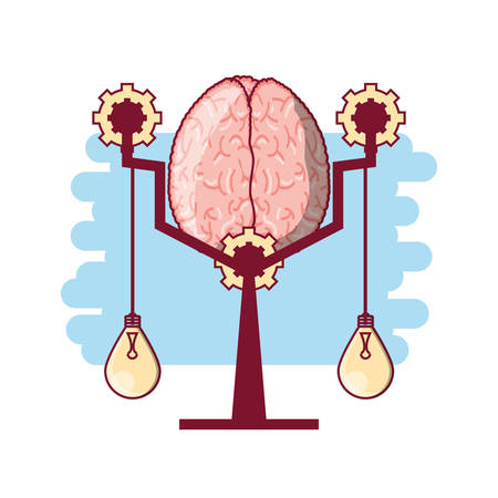 Abstract brain in a scale and bulb lights hanging over white background colorful design vector illustration Illustration