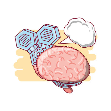 Human brain with speech bubble icon over white background colorful design vector illustration Illustration
