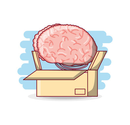 box with human brain icon over blue and white background colorful design vector illustration
