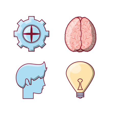 Brain concept icon set over white background colorful design vector illustration. Illustration