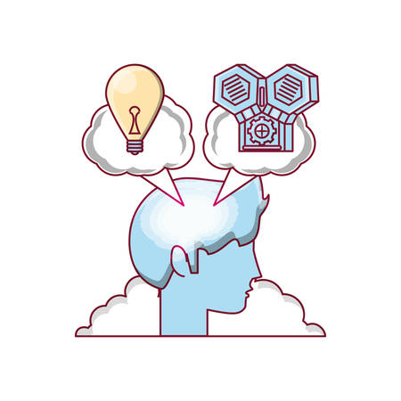 Head with speech bubble with light bulb and machine icon over white background colorful design vector illustration.