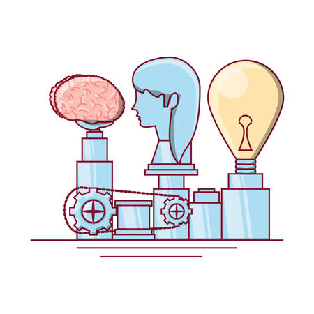 Head with brain machine icon. Illustration