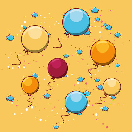 colorful balloons and serpentine around over yellow background colorful design vector illustration Illustration