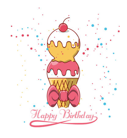 Happy birthday design with ice cream icon over white background colorful design vector illustration