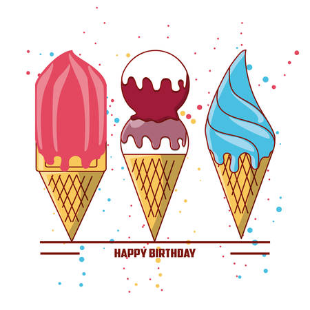 Happy birthday design with ice creams icon over white background colorful design vector illustration