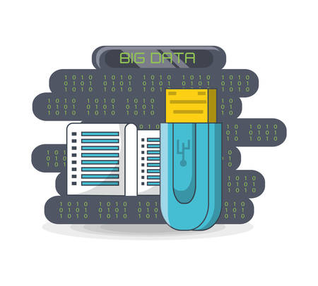Big data design with usb and data center icon.