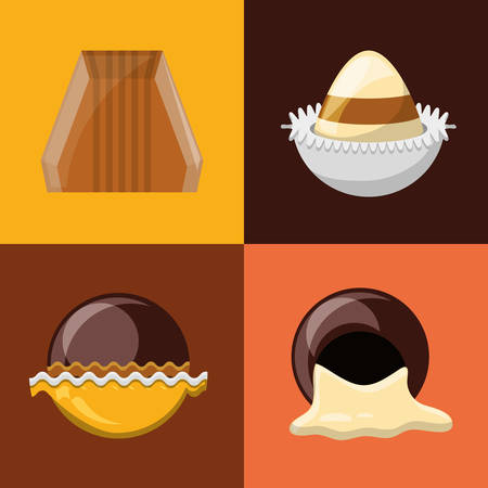 chocolate truffles icon set over colorful squares vector illustration Vettoriali