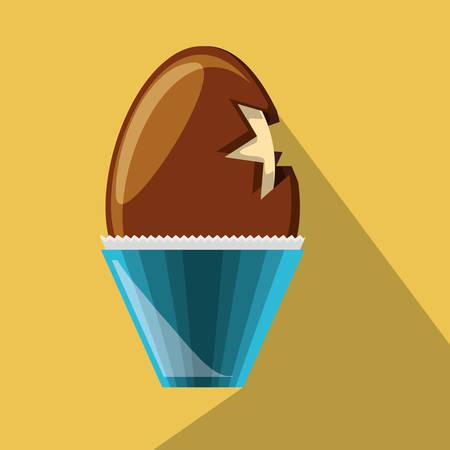 chocolate egg icon over yellow background colorful design vector illustration Ilustração