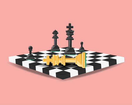 chess board with pieces and knight down over pink background colorful design vector illustration