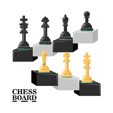 chess pieces over white background colorful design vector illustration