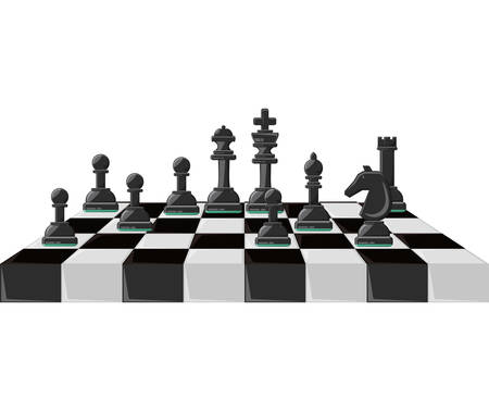 Chess board with pieces over white background colorful design vector illustration. Иллюстрация
