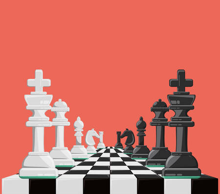 chess game design with chess board and pieces over pink background colorful design vector illustration