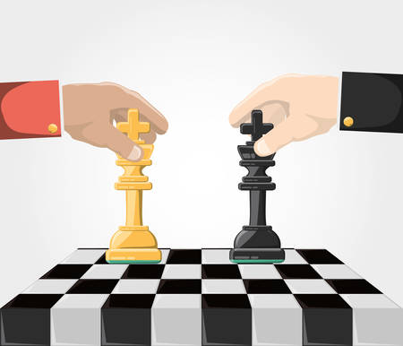 Hands with king chess pieces on board over white background colorful design vector illustration