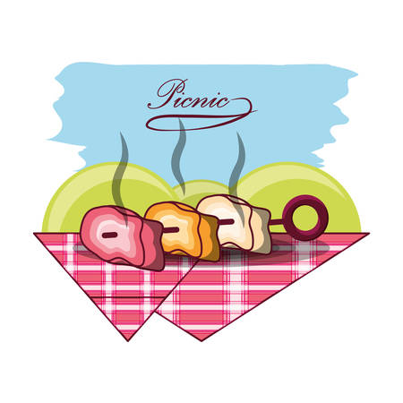 picnic design with grilled meat skewer icon over blue and white background colorful design vector illustraiton