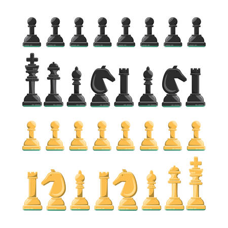 chess pieces icon set over white background colorful design vector illustration