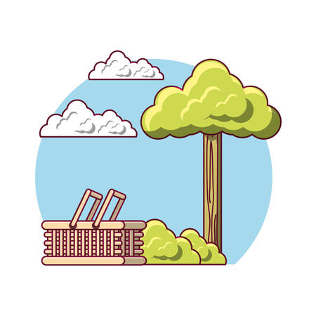 picnic design with outdoor basket colorful design vector illustration