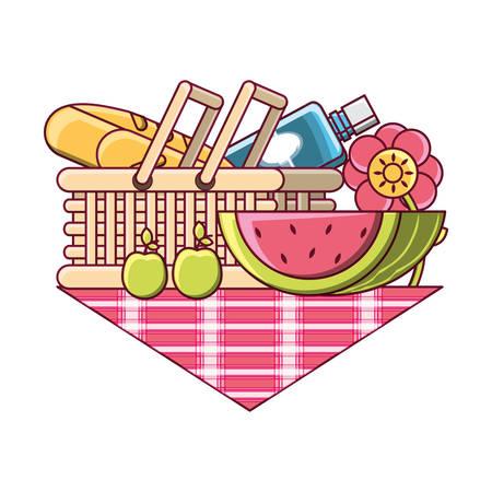 picnic basket with food and fruits over white background colorful design vector illustration Illustration