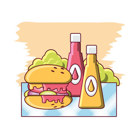 hamburger and sauces bottles over colorful background vector illustration