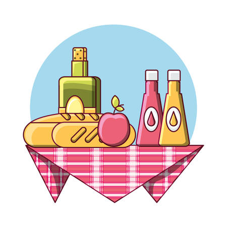 picnic blanket with food and drinks over blue and white background colorful design vector illustration Illustration