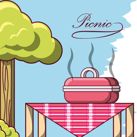 picnic design with table with bbq grills with hot food over blue background colorful design vector illustration Illustration