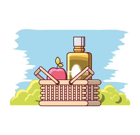 picnic basket with apple and juice bottles over white background colorful design vector illustration